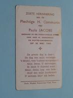 Paula JACOBS Op 30 Mei 1943 - H. Gerardus Te PUTTE-GRASHEIDE ( Zie/voir Photo ) ! - Communion