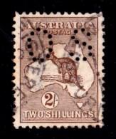 Australia 1913 Kangaroo 2/- Brown 1st Wmk Perf Small OS Used - Used Stamps