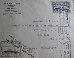 LOT A48 - N°299 - PAQUEBOT S/S NORMANDIE / 1ere LIAISON POSTALE : LE HAVRE à N.Y. 29 MAI 1935 - Postmark Collection (Covers)