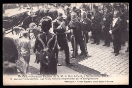MONS 1913 - JOYEUSE ENTREE ALBERT I - CPA Nr 8 - LES PETITS PRINCES COMPLIMENTES PAR LE BOURGMESTRE - Rare ! - Mons