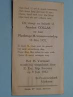 Annine COLLAS Op 18 Mei 1952 - St. Franciscuskerk MERKSEM Door Z. Exc. Mgr. SUENENS 9 Juni Vormsel ( Zie/voir Photo ) ! - Communion