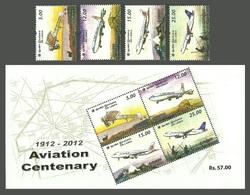 SRI LANKA 2012 AIRCRAFT CENTENARY OF AVIATION MONOPLANE AIRLINER SET & M/SHEET MNH - Sri Lanka (Ceylon) (1948-...)