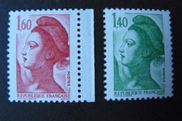 France - Yvert N° 2186 & 2187 Neufs ** (MNH) - Variété - Gomme Blanche Mate - Voir Scans - 1982-90 Liberté De Gandon