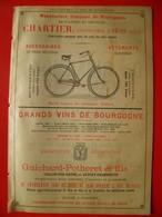 PUB 1892 - Vélocipèdes Chartier Sens 89; Vins Bourgogne Guichard-Potheret; Vins Bordeaux Ricaumont Fronsac 33 - Advertising
