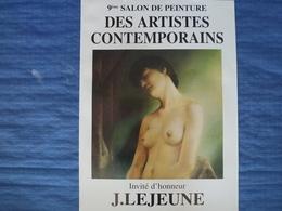 Affiche D'exposition De L'artiste Peintre J.Lejeune - 62 X 40 Cm - Affiches