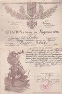 CITATION A L'ORDRE DU REGIMENT N° 754 - Historical Documents