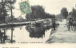 -dpts Div.-ref-YY743- Aisne - Rouvroy - Saint Quentin - St Quentin - Pont De Rouvroy -  Halage D Une Peniche - Peniches - Autres Communes