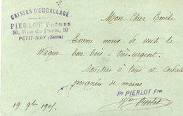 94 Petit IVRY - Entier Postal Carte Commerciale Précurseur PIERLOT Frères, 50 Rue De Paris - Caisses D'emballage - Ivry Sur Seine