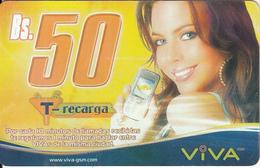 BOLIVIA - Girl With Phone, Viva Prepaid Card Bs 50(thick), 07/05, Used - Bolivia
