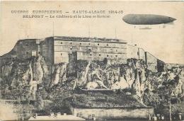 TOP 286   CPA BELFORT  Le Chateau Et Le Lion De Bartholdi  Dirigeable Ballon - Belfort - City