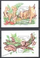 Barbuda Mail 1992 Yvert BF 185-86, Mushrooms - Miniature Sheet - MNH - Antigua Et Barbuda (1981-...)