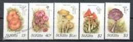 St. Kitts 1987 Yvert 641-45, Mushrooms - MNH - St.Kitts And Nevis ( 1983-...)