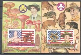 San Vicente - Saint Vincent 1986 Yvert BF 26-27, Scouts, Fauna, Mushrooms - Miniature Sheets - MNH - St.Vincent (1979-...)