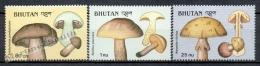 Bhutan - Bhoutan  1989 Yvert 832-34 Mushrooms - MNH - Bhoutan