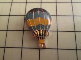 PIN412e Pin's Pins / Rare Et Beau : MONTGOLFIERE BALLON LIBRE NOIR JAUNE ET BLEU - Airships