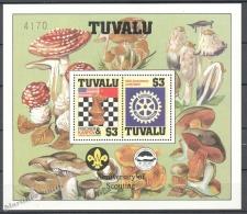 Tuvalu 1986 Yvert BF 14, Chess World Championship, Rotary, Mushrooms - MNH - Tuvalu