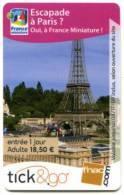 @+ Carte Cadeau - Tick & Go : PARC - FRANCE MINIATURE - ADULTE (2009). - France