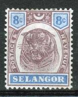 Malaya Selangor Queen Victoria 1895 Tiger Head Eight Cent Purple And Ultramarine. - Selangor