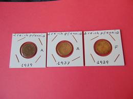 3 Monedas Diferentes De 2 Reichpfennig - [ 4] 1933-1945 : Third Reich