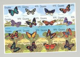 Guyana #2340 Butterflies 1v M/S Of 16 Imperf Proof, Unissued Denomination - Guyana (1966-...)