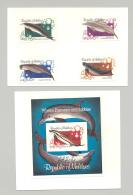 Maldives #985-989 Whales, Dolphins 4v & 1v S/S Imperf Proofs On 2v Cards - Maldives (1965-...)