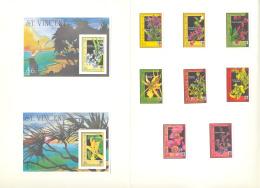St Vincent #1362-1371 Orchids, Expo 90 8v & 2v S/S Imperf Proofs In Folder - St.Vincent (1979-...)