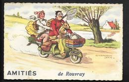 Amitiès De Rouvray CPSM Illustrateur Chaperon,Jean - Humour Scooter Chien Pêcheur Vacances - Chaperon, Jean