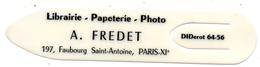 Marques Pages Librairie Fredet Paris 11  Saint Antoine - Marque-Pages