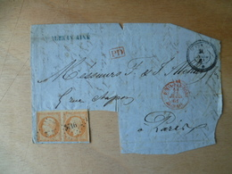 DEVANT DE LETTRE  40  CTS  NAPOLEON  PC 3716 - 1849-1876: Periodo Classico