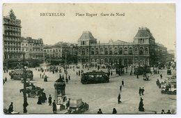 CPA - Carte Postale - Belgique - Bruxelles - Place Rogier - Gare Du Nord - 1913 (CP2137) - Transport Urbain En Surface