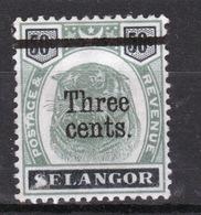Malaya Selangor Queen Victoria 1900 Tiger Head Three Cent Overprint On 50 Cent. - Selangor