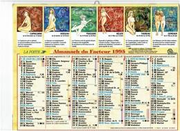 Grand Calendrier P.T.T. Facteur 1995 - Signes Horoscope Femme Nue Pin'up Seins Nus - Dessin Taureau Bélier - Calendars
