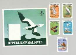 Maldives #696-700 Birds 4v & 1v S/S Imperf Proofs From Set - Maldives (1965-...)