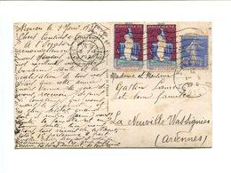 Cp - 2 Vignettes Antituberculeux 1930 Sur Carte Postale Affranchie 40c Bleu Type Semeuse Pour Les Ardennes - Antituberculeux
