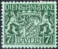 BAVIERA, BAYERN, GERMANIA, GERMANY, ANTICHI STATI, SERVIZIO, 1916-1917, FRANCOBOLLI NUOVI (MLH*) Michel D18v   Scott O8 - Bavaria