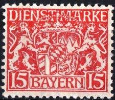 BAVIERA, BAYERN, GERMANIA, GERMANY, ANTICHI STATI, SERVIZIO, 1916-1917, FRANCOBOLLI NUOVI (MLH*), Michel D19  Scott O11 - Bavière