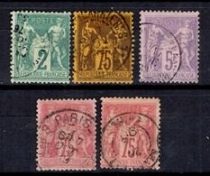France Cinq Bons Sage Oblitérés YT N° 62, 81 (2), 95 Et 99. Premiers Choix! A Saisir! - 1876-1898 Sage (Type II)