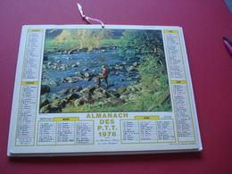 1976 ALMANACH DES P.T.T PECHE EN EAUX VIVES - Calendars