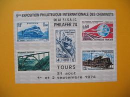 Bloc Feuillet    Trains  à Voir  Exposition Des Cheminots Philafer 74 - Eisenbahnen