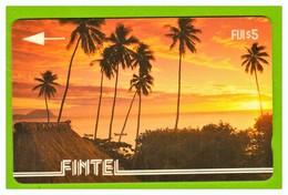 "FIJI Islands: FIJ-FI-01 From Fintel Company ""Palms & Sunset "" CN:1CWFA Rare (5.000ex) & Old (1992) - Fiji"