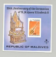 Maldives #749 Queen Elizabeth Coronation 1v S/S Imperf Proof On Card - Maldives (1965-...)