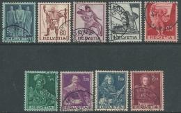 1941 SVIZZERA USATO SOGGETTI STORICI 9 VALORI - Z13-8 - Suisse