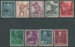 1941 SVIZZERA USATO SOGGETTI STORICI 9 VALORI - Z13-8 - Gebraucht