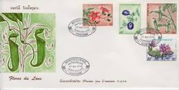 Laos 1973, Fleurs Du Laos. YT 263,  264 Et 265 Et PA 115 Sur FDC 17 Mai 1974 - Laos
