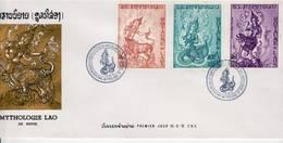 Laos 1972, Mythologie : Nak Harare, Nang Kinnale, Nora Sung. YT PA 91, 92, 93 Sur FDC 15 Septembre 1972 - Laos