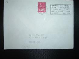 LETTRE TP M.DE BEQUET 0,80 OBL.MEC.13-9 1976 15 ST FLOUR CANTAL GANDILHON GENS D'ARMES POETE ARVERNE MUSEE DE LA HAUTE A - Storia Postale