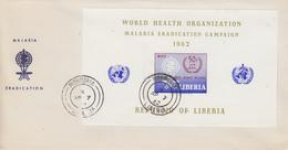 Enveloppe  FDC  1er  Jour   LIBERIA    Bloc  Feuillet  Eradication  Du  Paludisme  Malaria   1962 - Disease