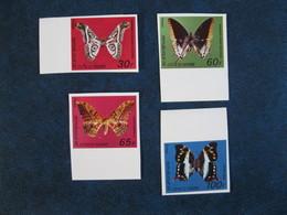 CÔTE D'IVOIRE RARE YT 440A/440D** Minr 527/30** Non Dentelé,Imperforated MNH Luxe Bdf 1977 Papillons,Butterflies - Ivory Coast (1960-...)