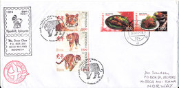 Indonesia Cover Sent To Norway 16-4-2010 Topic Stamps Incl. FDC Year Of The Tiger Stamps - Indonesia