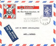 Belgium Air Mail Cover Sent To Denmark Namur 7-9-1957 Single Franked - Poste Aérienne